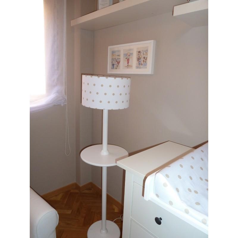 Pie de lampara con bandeja de madera y pantalla minipapillon todo lo que necesitas para tu bebe - Lamparas habitacion bebe ...